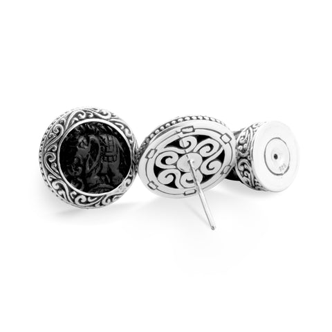 Gajah Collection Traditional Mini Stud Earrings in Sterling Silver