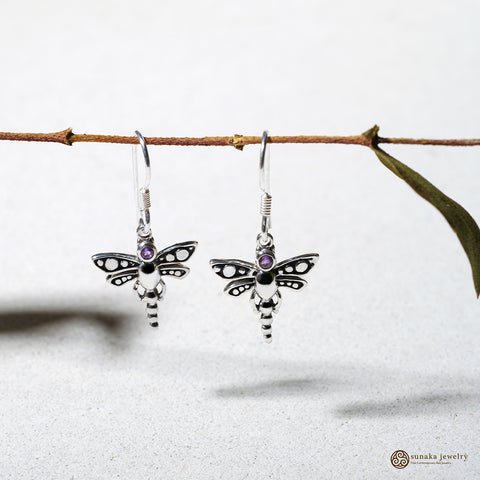 Capung Bali Gemstone Dangle Earrings in Sterling Silver
