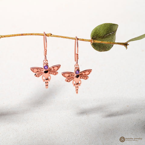 Capung Bali Gemstone Dangle Earrings Rose Gold Over Sterling Silver