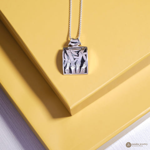 Bamboo Pendant in Sterling Silver