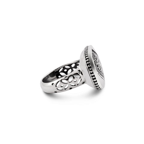Indonesian Batik Ornamentation Silver Cocktail Ring