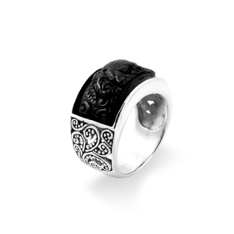 Elephant Collection Silver Band Ring