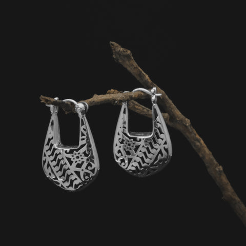Bhinneka Hoop Earrings in Sterling Silver