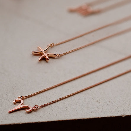 Zodiac Necklace Rose Gold Over Sterling Silver