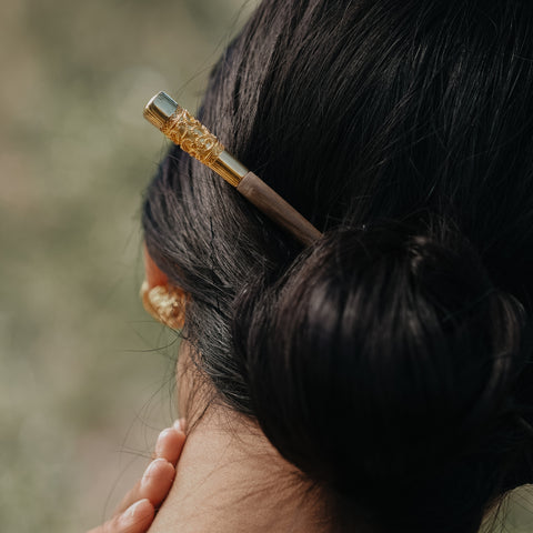 Ombak Segara Balinese Traditional Hairpiece (Tulang) Rose Gold Over Sterling Silver