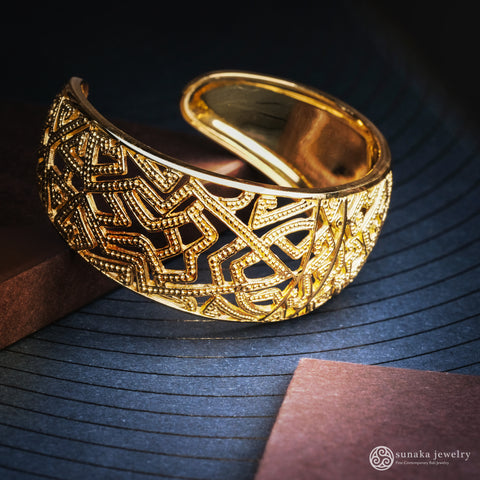 Songket Gold Plated Cuff Bracelet