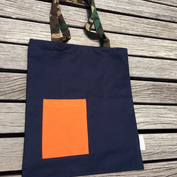 Tote bag | blue with pocket