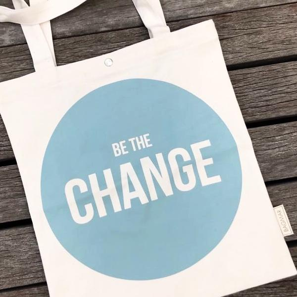 Tote bag | Be the change mint green