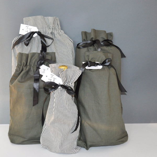 Gift bags | 5-pack striped and green