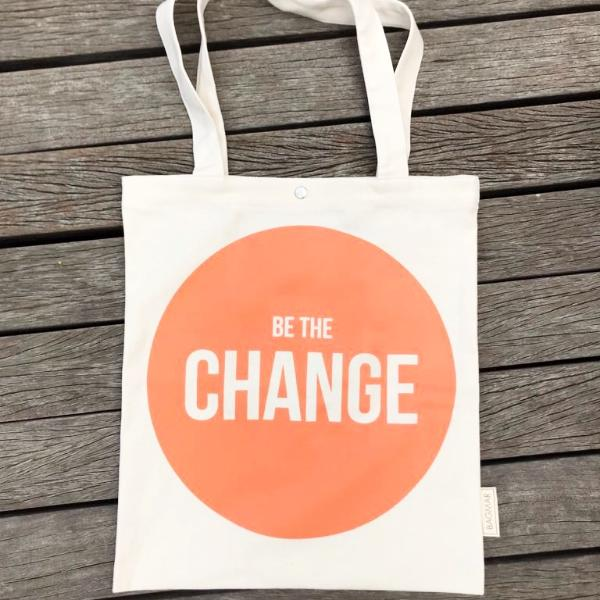 Tote bag | Be the change orange