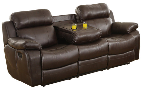 Marille Brown Bonded Leather Reclining Sofa - Luna Furniture