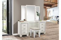 Allura White Vanity Set with Stool - Luna Furniture