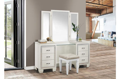 Allura White Vanity Set with Stool | 1916
