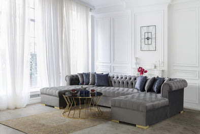 Lauren Velvet Gray Double Chaise Sectional - Luna Furniture