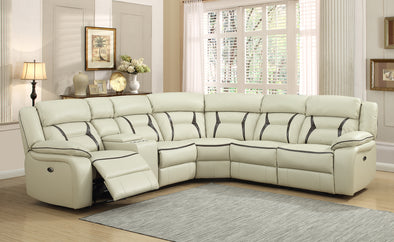 Leo Ivory/Brown Power Reclining Sectional
