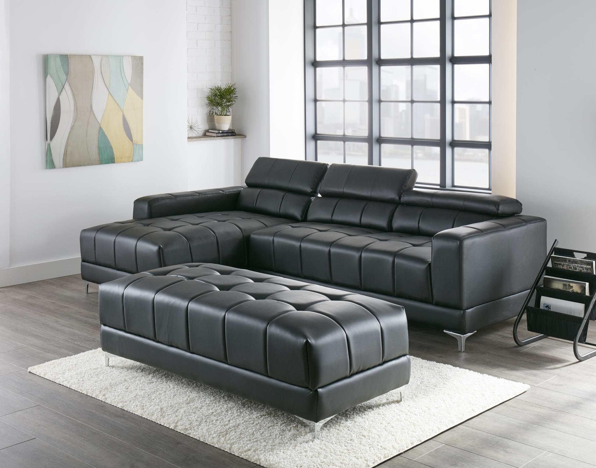 Pleasing Samuel Black Bonded Leather Sectional 1014 Squirreltailoven Fun Painted Chair Ideas Images Squirreltailovenorg
