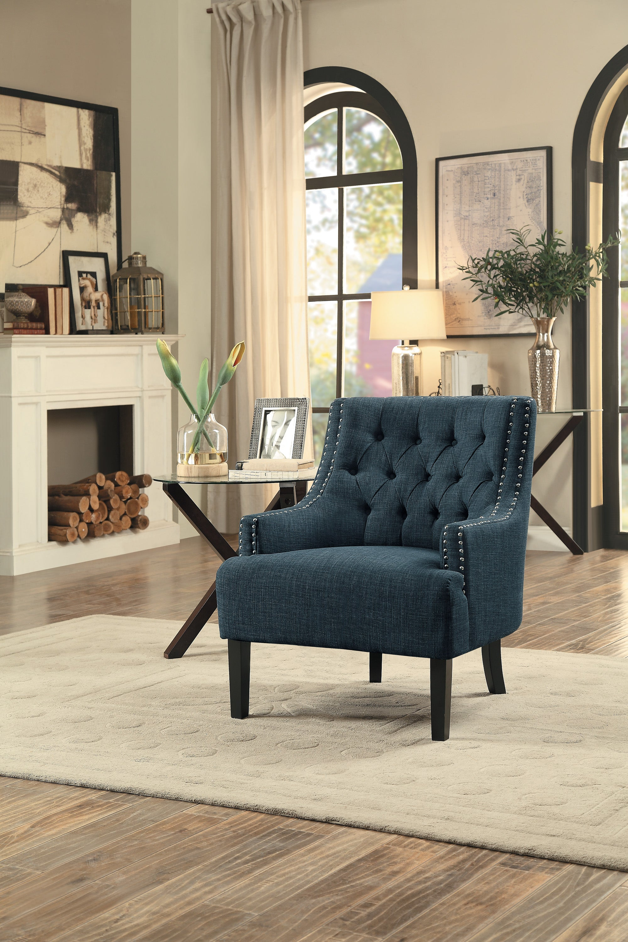 Pleasing Charisma Indigo Accent Chair 1194Homeleganceaccent Gmtry Best Dining Table And Chair Ideas Images Gmtryco