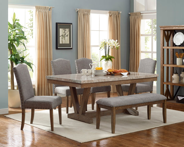 Vesper Brown/Gray Real Marble Rectangular Dining Table - Luna Furniture