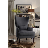 Avina Gray Accent Chair with Kidney Pillow - Luna Furniture