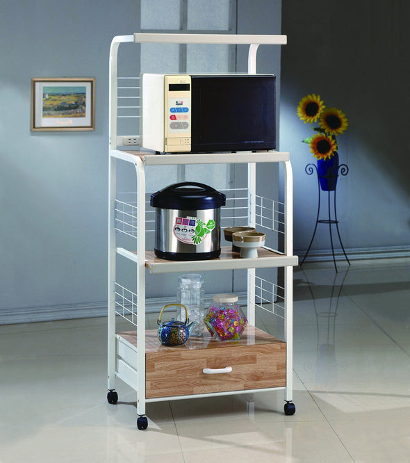 Kitchen Shelf White/Light Brown on Casters - Luna Furniture