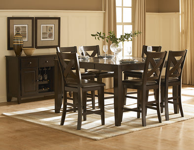 [SPECIAL] Crown Point Dark Brown Counter Height Set | 1372