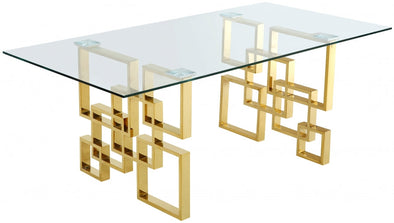 Pierre Gold/Glass Dining Table - Luna Furniture