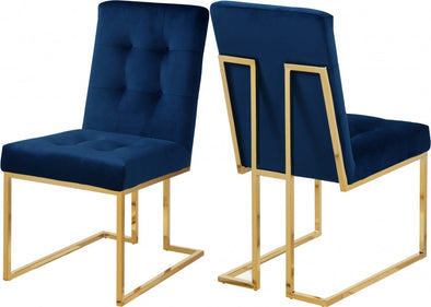 Pierre Velvet Navy Dining Chair, Set of 2