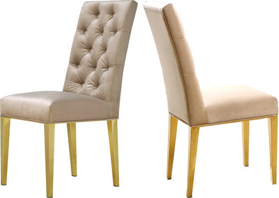 Capri Velvet Beige Dining Chair, Set of 2
