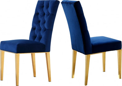 Capri Velvet Navy Dining Chair, Set of 2