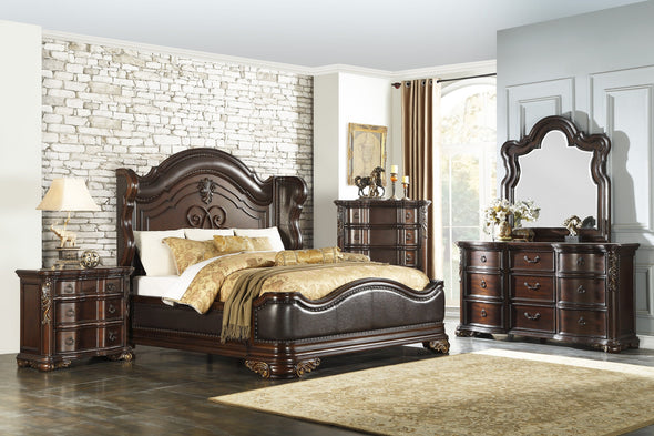 [SPECIAL] Royal Highlands Rich Cherry Panel Bedroom Set - Luna Furniture