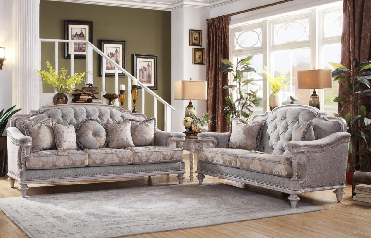 Amancio Antique White Living Room Set – Luna Furniture
