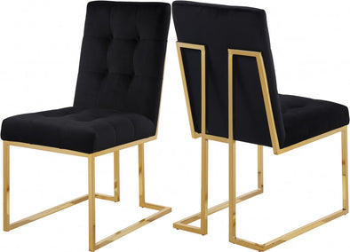 Pierre Velvet Black Dining Chair, Set of 2