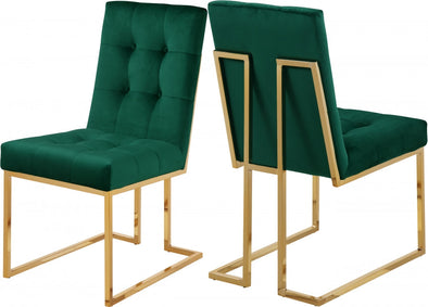 Pierre Velvet Green Dining Chair, Set of 2