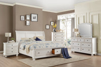 Laurelin White King Storage Platform Sleigh Bed - Luna Furniture