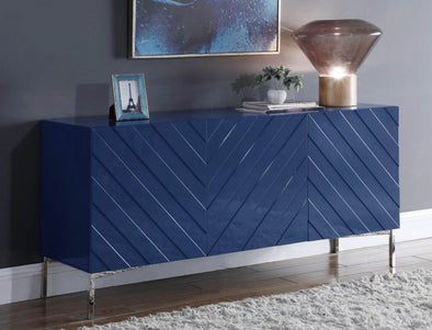 Collette Navy Lacquer/Chrome Sideboard Buffet - Luna Furniture