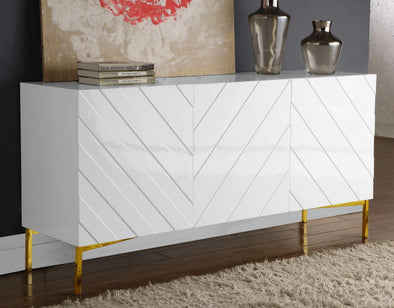 Collette White Lacquer/Gold Sideboard Buffet - Luna Furniture