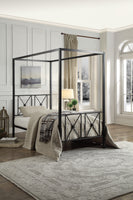 Rapa Black Twin Metal Canopy Platform Bed - Luna Furniture