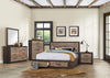 Miter Brown King Storage Platform Bed - Luna Furniture