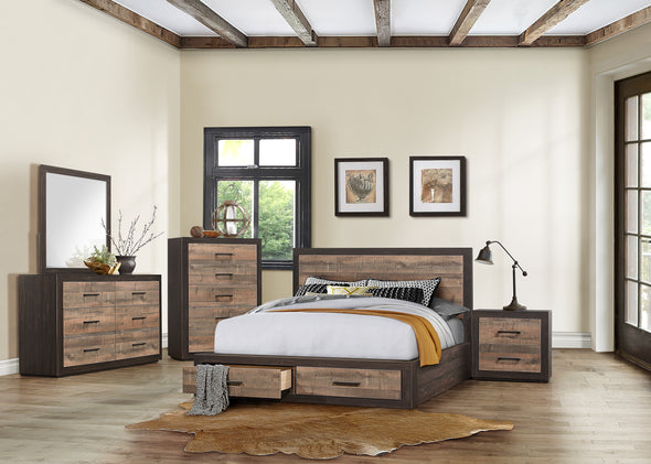Miter Brown Queen Storage Platform Bed - Luna Furniture