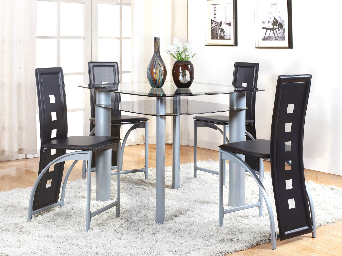 Echo Gray/Black 5-Piece Glass-Top Counter Height Dining Set | 1770 - Bellaria Furniture HomeStore