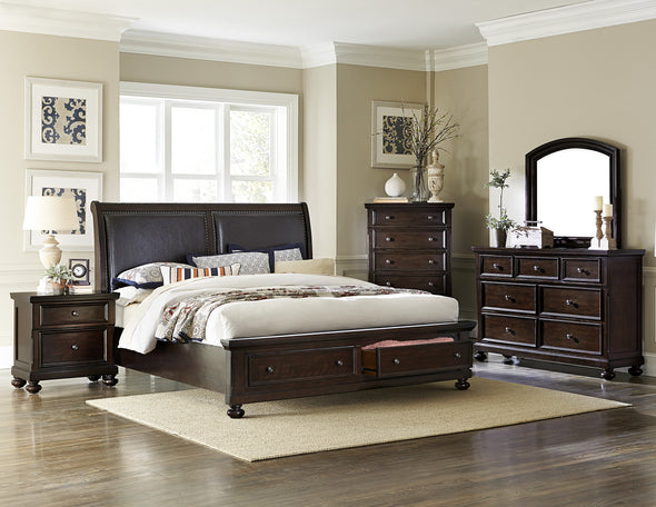 Faust Espresso Queen Storage Platform Sleigh Bed - Luna Furniture