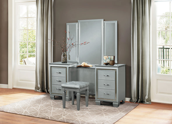 Allura Silver Vanity Set with Stool - Luna Furniture