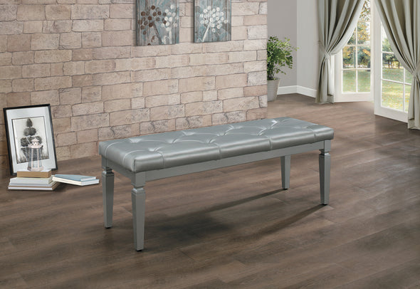 Allura Silver Bedroom Bench - Luna Furniture