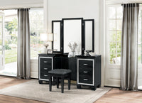Allura Black Vanity Set with Stool - Luna Furniture