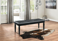 Allura Black Bedroom Bench - Luna Furniture