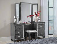 Allura Gray Vanity Set with Stool - Luna Furniture