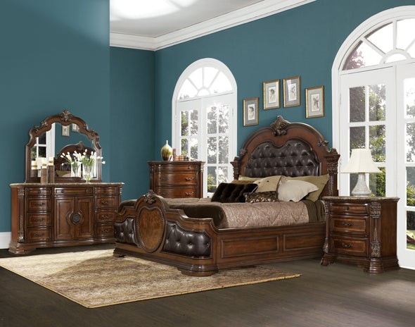 Antoinetta Cherry Queen Panel Bed - Luna Furniture