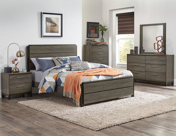 Vestavia Gray Twin Panel Bed - Luna Furniture