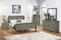 Louis Philip Gray Queen Sleigh Bed - Luna Furniture