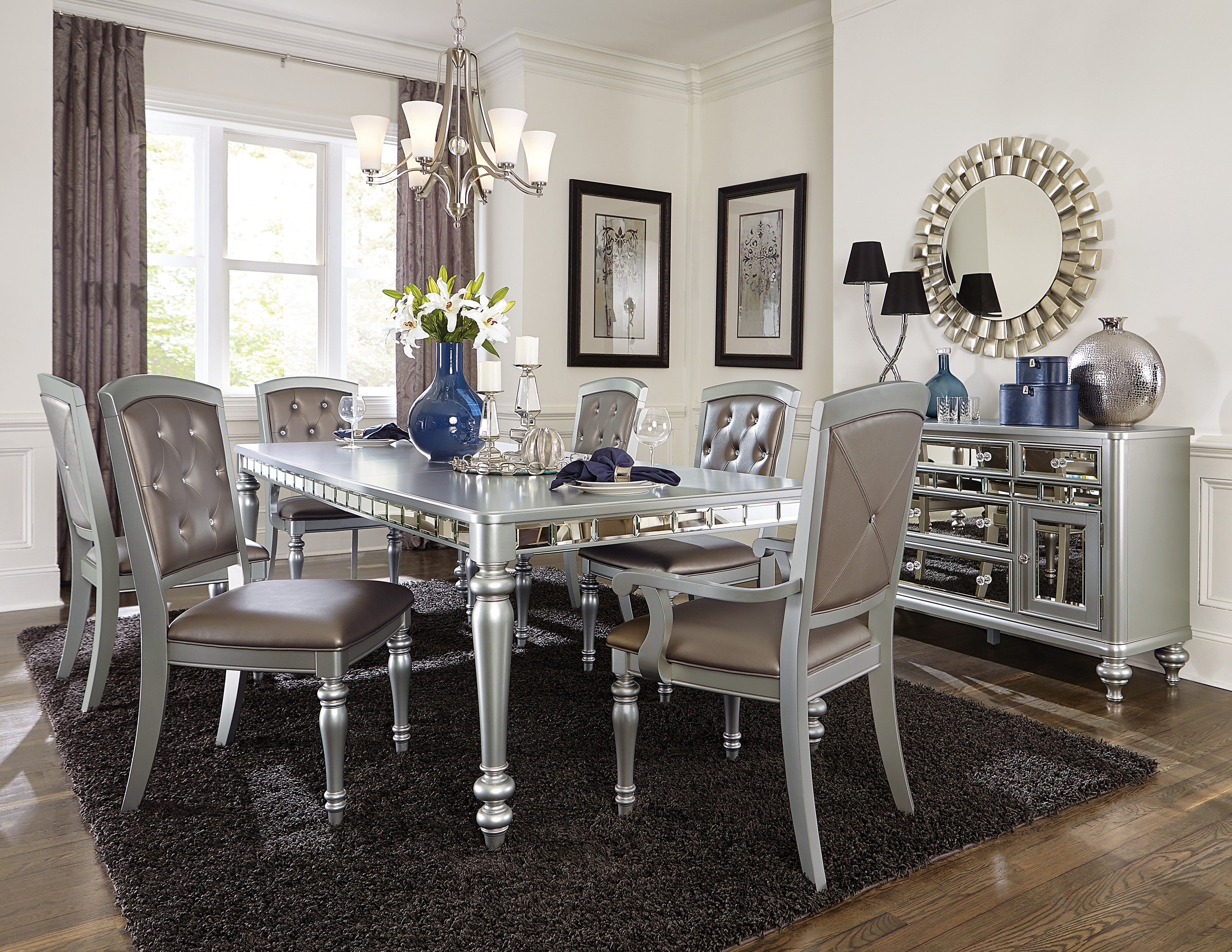 Orsina Silver Mirrored Extendable Dining Set From Homelegance Luna Furniture